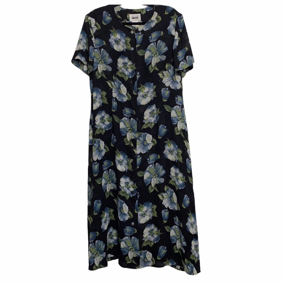 90's Full Button Front Blue Floral Long Dress